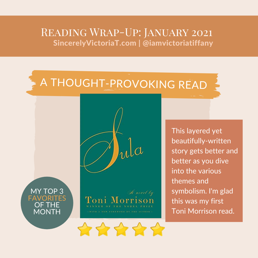 Sula Sincerely Victoria Tiffany SincerelyVictoriaT.com Book Reads Favorites of January 2021